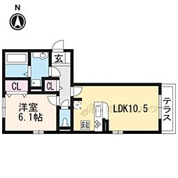 JR東海道・山陽本線 石山駅 徒歩25分の賃貸アパート 1階1LDKの間取り