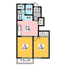 静岡県静岡市清水区鳥坂の賃貸アパートの間取り