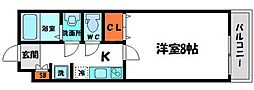 ディアコート中宮 3階1Kの間取り