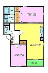 南海高野線 北野田駅 徒歩14分の賃貸アパート 2階2LDKの間取り