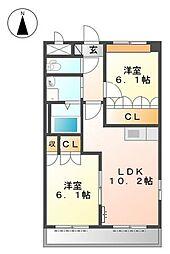 兵庫県たつの市揖西町土師1丁目の賃貸アパートの間取り