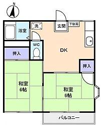 勝田台スカイコーポ[2階]の間取り