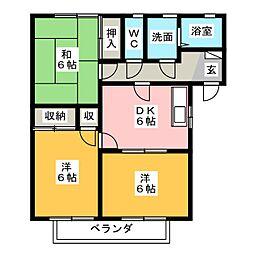 ロワールヤマダA[1階]の間取り
