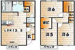 [テラスハウス] 福岡県北九州市八幡東区清田2丁目 の賃貸【/】の間取り