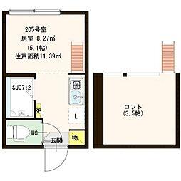 東京メトロ丸ノ内線 中野坂上駅 徒歩10分の賃貸アパート 2階ワンルームの間取り