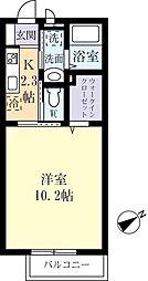 グレースタウンIIIA 2階1Kの間取り