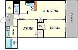 プレサンスレジェンド堺筋本町タワー[20階]の間取り