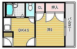 シンワハイツ[3階]の間取り