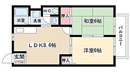 愛知県尾張旭市平子町長池上の賃貸アパートの間取り