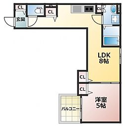 クリエオーレ東中浜 2階1LDKの間取り
