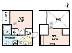 愛知県名古屋市中川区小本2丁目の賃貸アパートの間取り