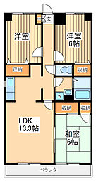 JR南武線 谷保駅 徒歩17分の賃貸マンション 7階3LDKの間取り
