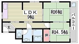 シャトー東洋 5階2LDKの間取り
