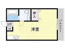 JR東海道・山陽本線 千里丘駅 徒歩14分の賃貸アパート 1階ワンルームの間取り