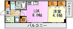 JR芸備線 矢賀駅 徒歩13分の賃貸マンション 7階1LDKの間取り