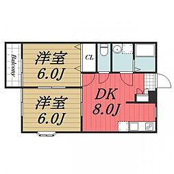 京成本線 志津駅 徒歩4分の賃貸アパート 2階2DKの間取り