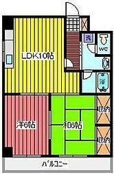フクロク・ハイマンション2号館[10階]の間取り