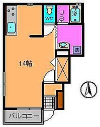 ガーデンハイツKICHI B棟 1階ワンルームの間取り