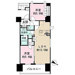 ザ・パークハビオ目黒 7階2LDKの間取り