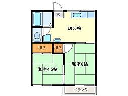 近鉄志摩線 中之郷駅 徒歩4分の賃貸アパート 2階2DKの間取り