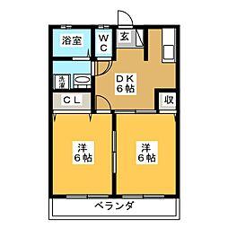 コーポ玉田[2階]の間取り