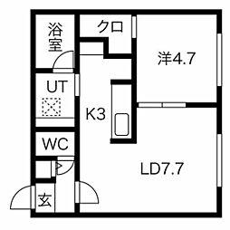 仮称)澄川2-3A棟 3階1LDKの間取り