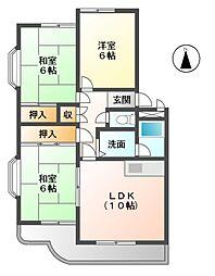 愛知県稲沢市長野3丁目の賃貸マンションの間取り