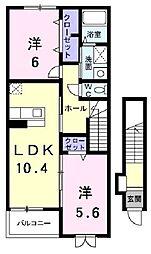 JR東海道・山陽本線 河瀬駅 徒歩10分の賃貸アパート 2階2LDKの間取り