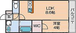 Osaka Metro四つ橋線 北加賀屋駅 徒歩8分の賃貸マンション 4階1LDKの間取り