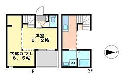 愛知県名古屋市中村区並木1丁目の賃貸アパートの間取り