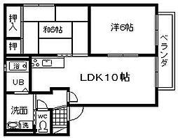 サンヒル岸和田 D棟[201号室]の間取り