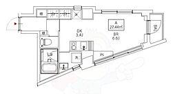 Kukai Terrace恵比寿 3階ワンルームの間取り