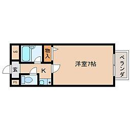 奈良県奈良市西木辻町の賃貸マンションの間取り