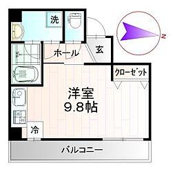 レクシズ浅草本所 6階ワンルームの間取り