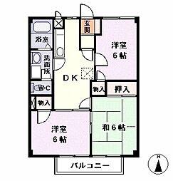 愛知県あま市木田小兵衛前の賃貸アパートの間取り