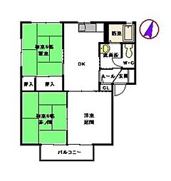 グランシャリオA棟 2階3DKの間取り