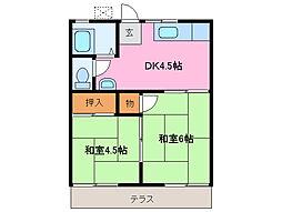コーポアキ[1階]の間取り