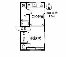 東京都品川区旗の台3丁目の賃貸アパートの間取り