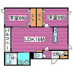 北海道札幌市東区東苗穂十三条2丁目の賃貸アパートの間取り