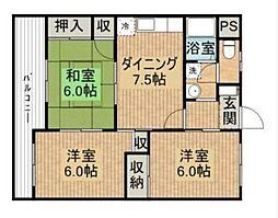 愛媛県松山市祝谷4丁目の賃貸マンションの間取り