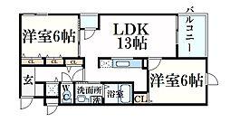 阪神本線 大石駅 徒歩11分の賃貸マンション 2階2LDKの間取り