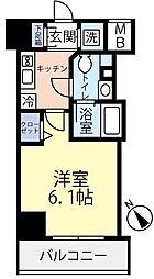 東急東横線 反町駅 徒歩3分の賃貸マンション 4階1Kの間取り