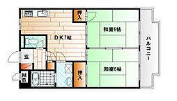福岡県北九州市小倉北区片野1丁目の賃貸マンションの間取り