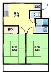 愛知県豊田市金谷町1丁目の賃貸アパートの間取り