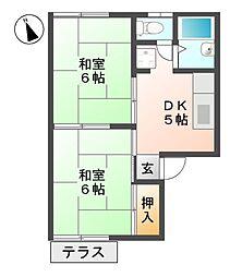 滋賀県東近江市八日市松尾町の賃貸アパートの間取り