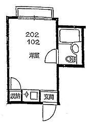 東京都板橋区赤塚1丁目の賃貸アパートの間取り