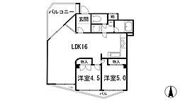 兵庫県神戸市東灘区岡本7丁目の賃貸マンションの間取り