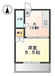 愛知県清須市新清洲2丁目の賃貸アパートの間取り