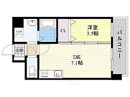 JR東海道・山陽本線 岸辺駅 徒歩6分の賃貸マンション 2階1DKの間取り