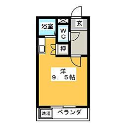 コーポアップル 3階ワンルームの間取り